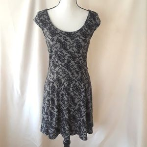 Candie's, Black and Gray Lace Print Skater Dress